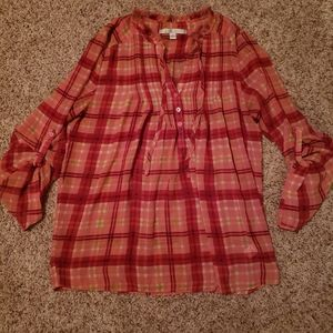 LC Pink Plaid Blouse